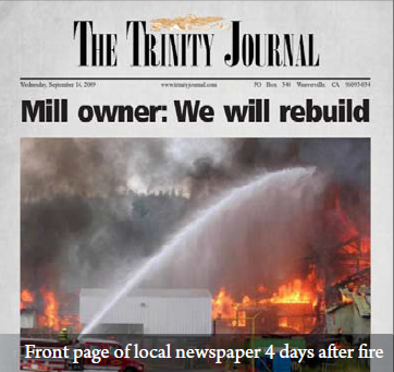 Trinity River Lumber Commercial Fire Property Damage AIPNW